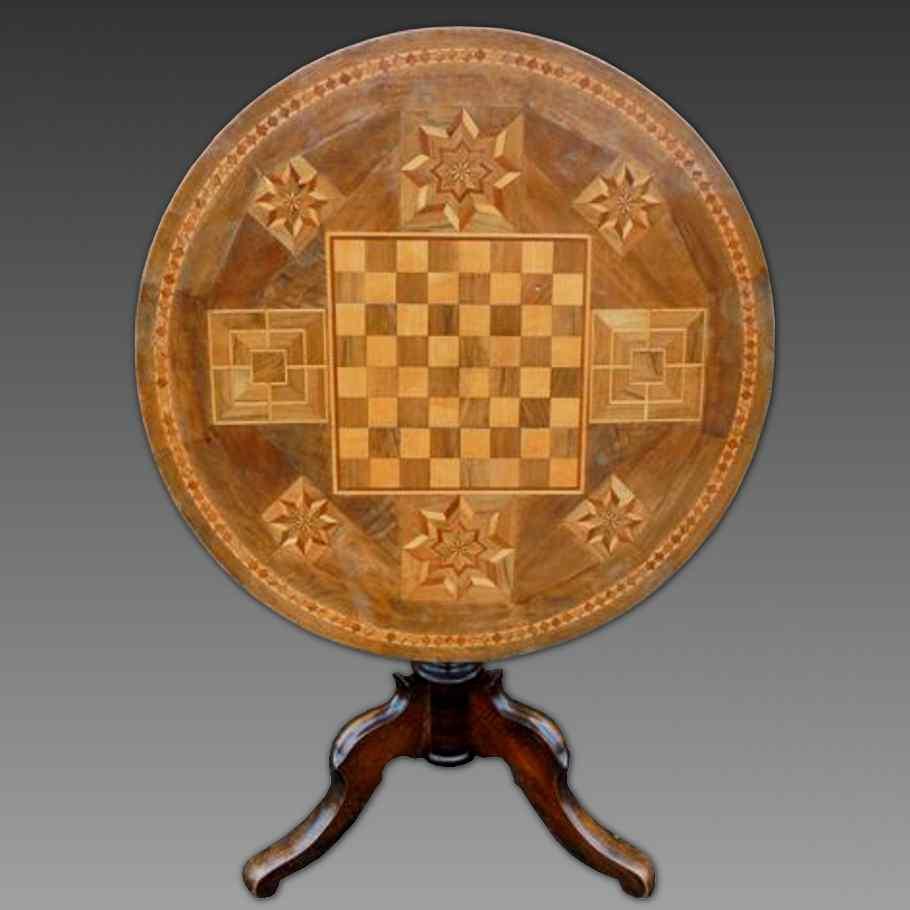 Ancien Table Louis Philippe noyer marqueterie - Italie 19ème