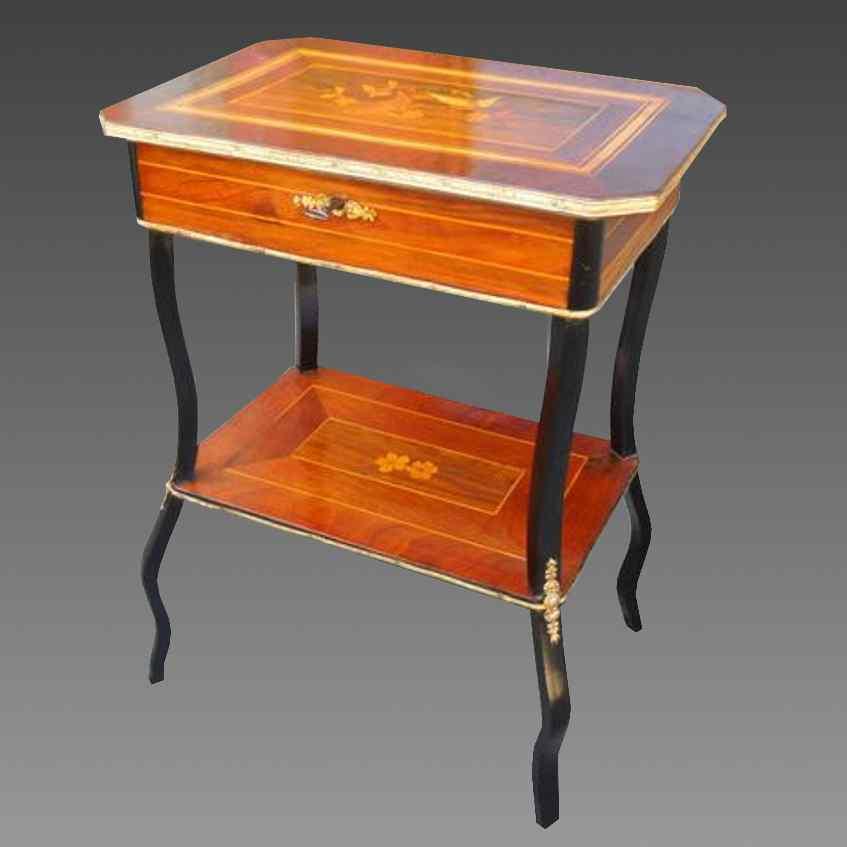 Antico Tavolino Napoleone III intarsiato - XIX secolo