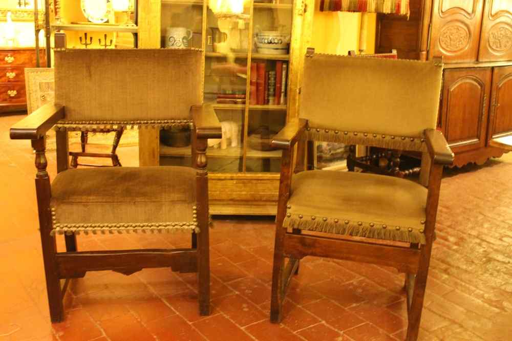 Almost Pair Of Spanish Armchairs In Walnut 17 Ith Circa 1650