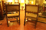 Almost Pair Of Spanish Armchairs In Walnut 17 Ith Circa 1650-1