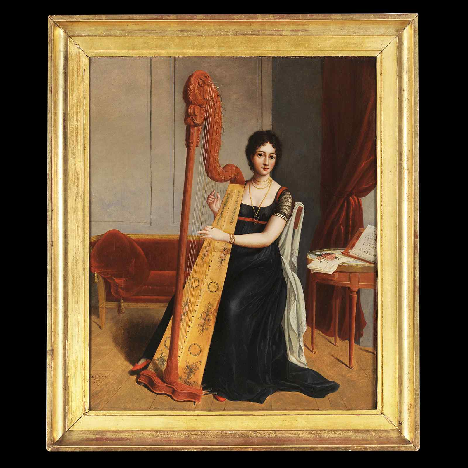 Portrait of a woman with a harp - Caroline Delestres
