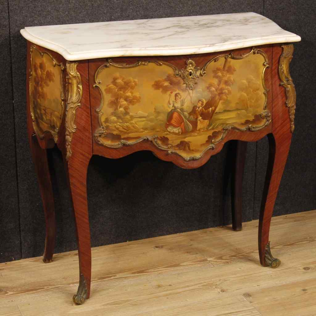 French commode in rosewood with marble top