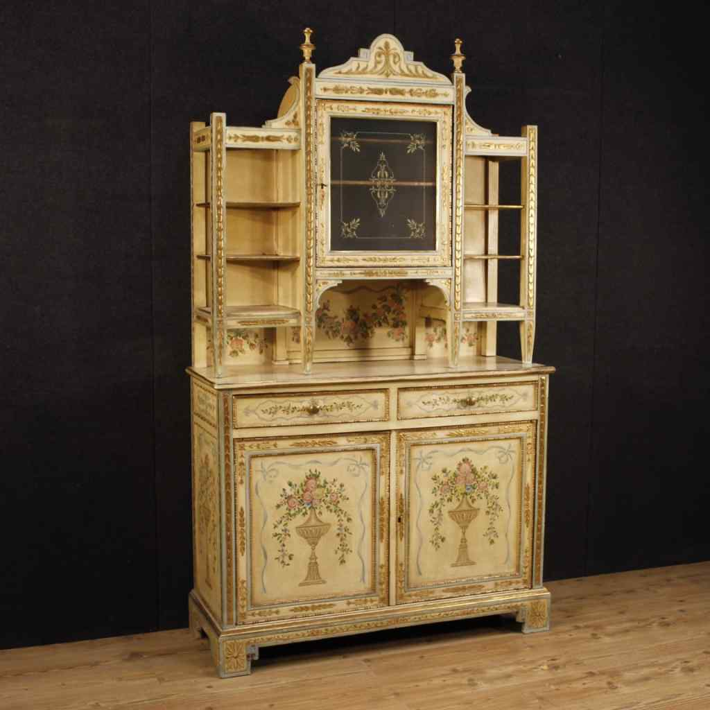 Italian lacquered, painted and golden cupboard
