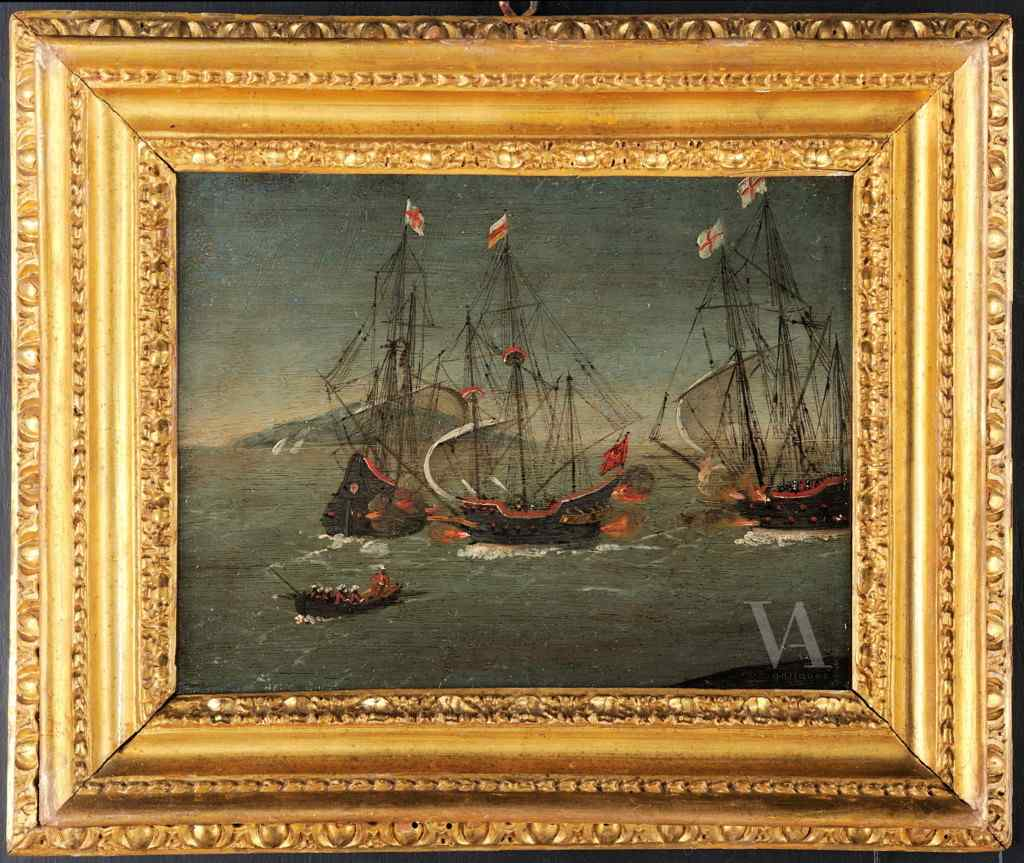 Paul Brill attributed, Naval Battle, 17th century