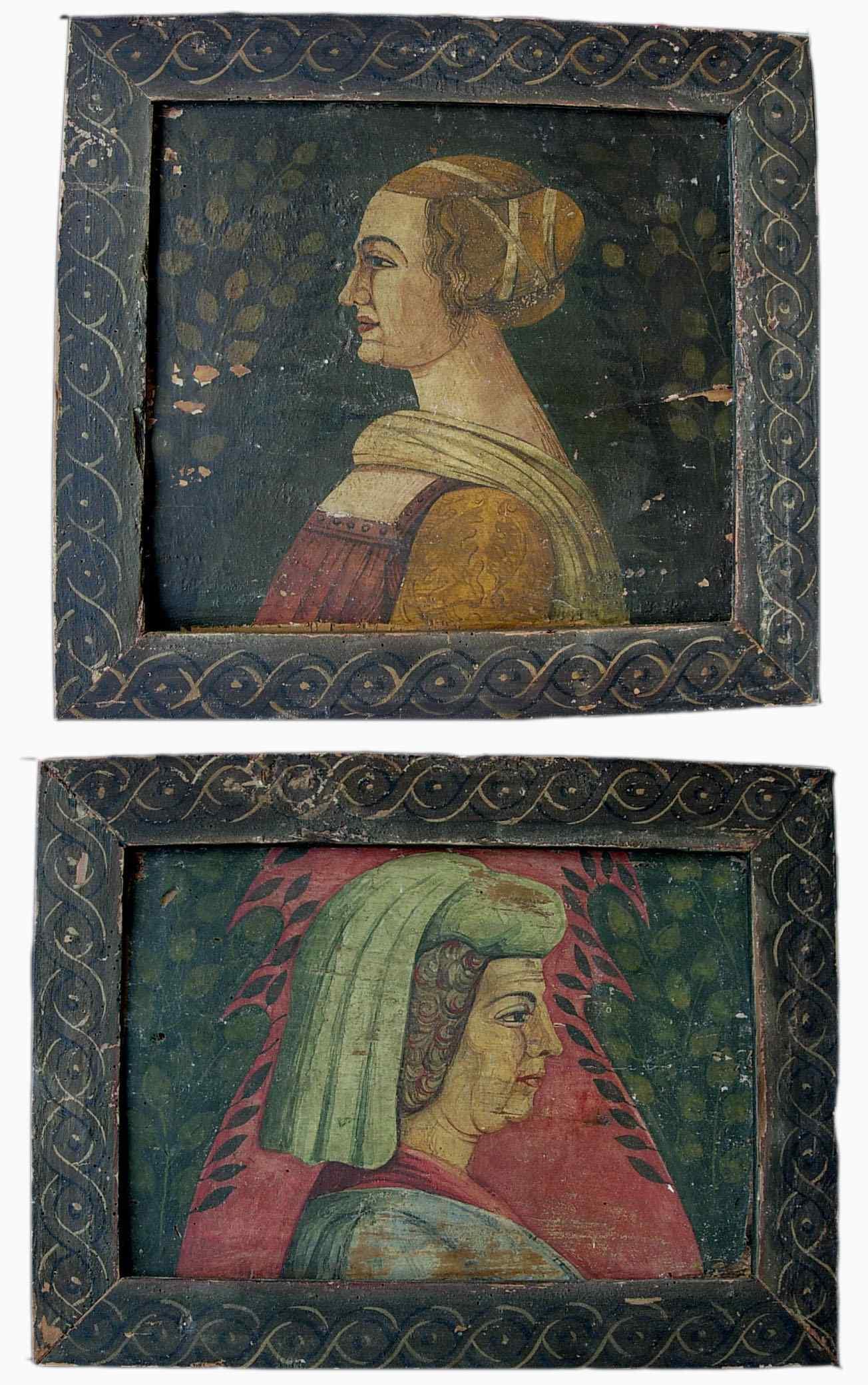 Pannelli con dame - Ritratti femminili, Sec. XV