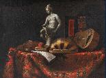 Nature morte avec des instruments de musique, statue, livre -1