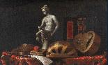 Nature morte avec des instruments de musique, statue, livre -2