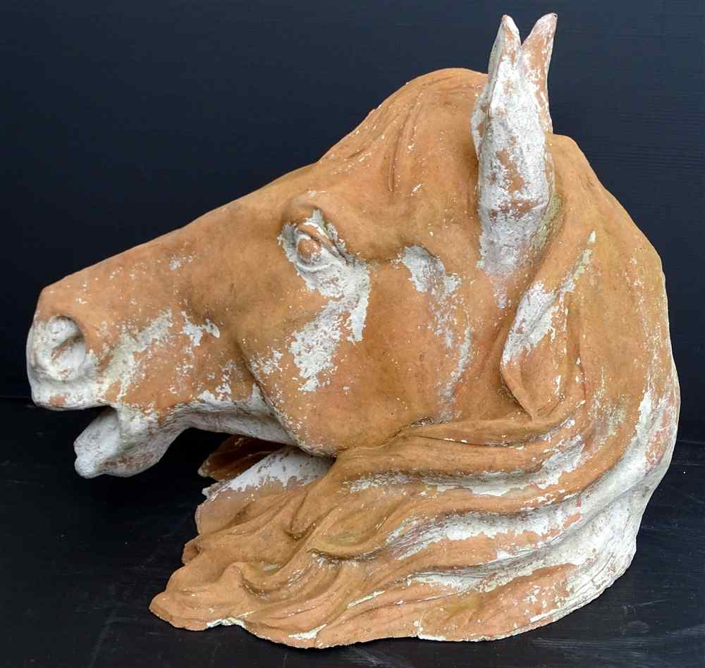 Rare Sign of Haras Horse head terracotta nineteenth