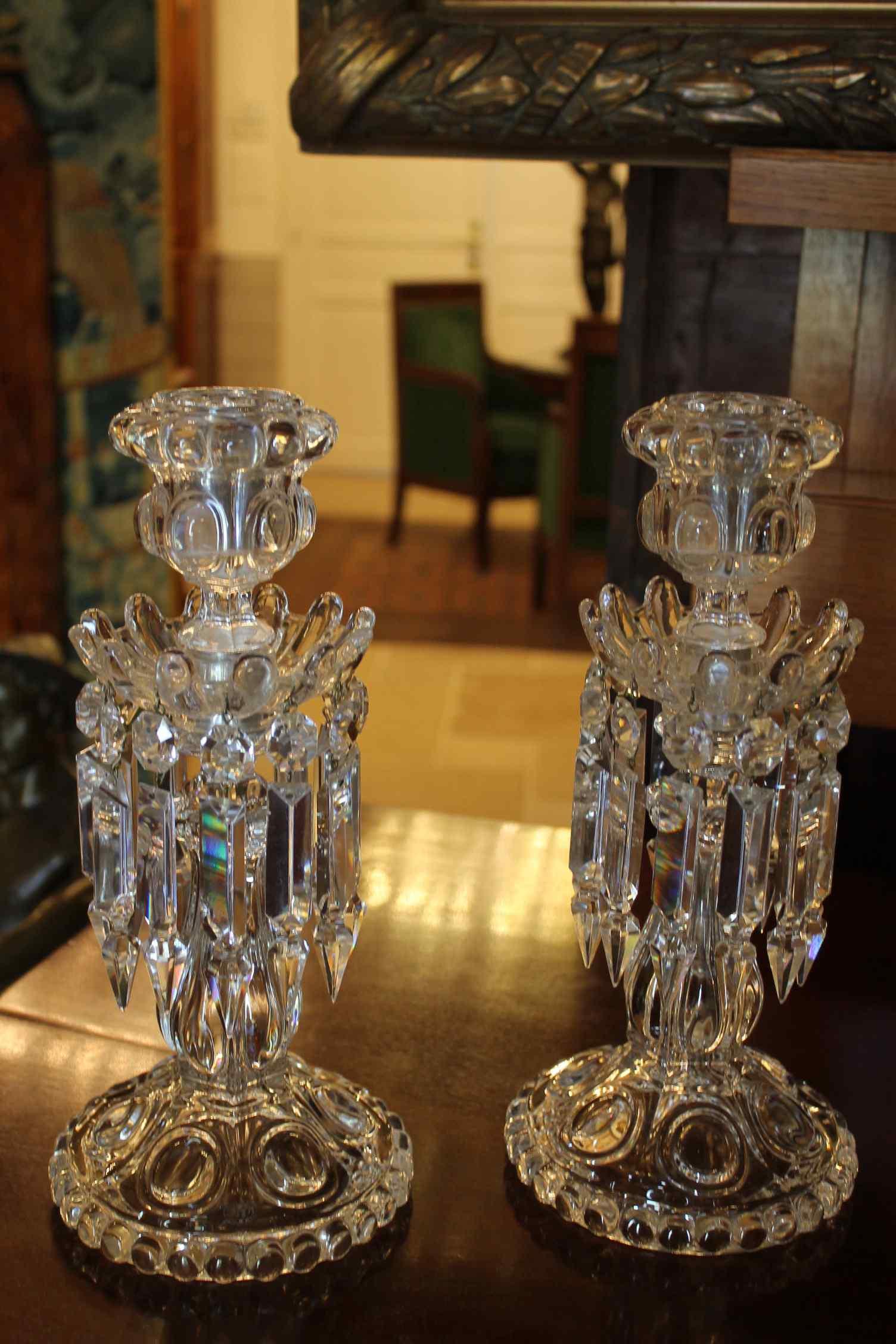 Coppia di candelieri cristallo Baccarat, modello medaglione