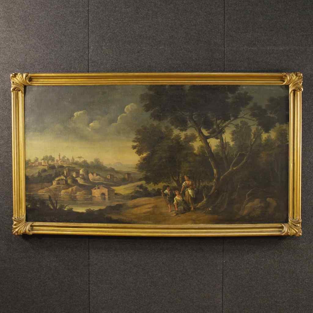 Ancien tableau paysage avec personnages et architecture