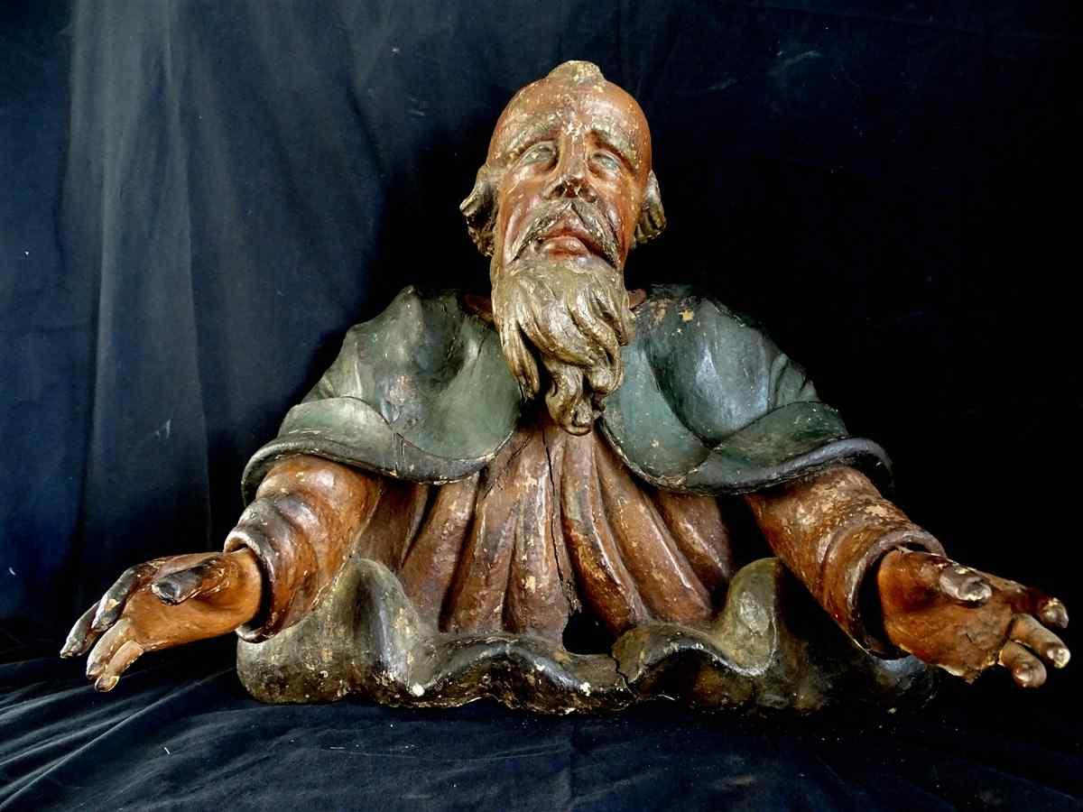 Dieu en Buste sur des Nuées, les bras ouverts, 17è Bois scul