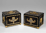 Pair of cabinets in ebony, tortoiseshell and brass-0