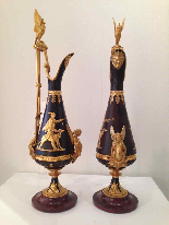 Pair of ewers in bronze circa 1840-6
