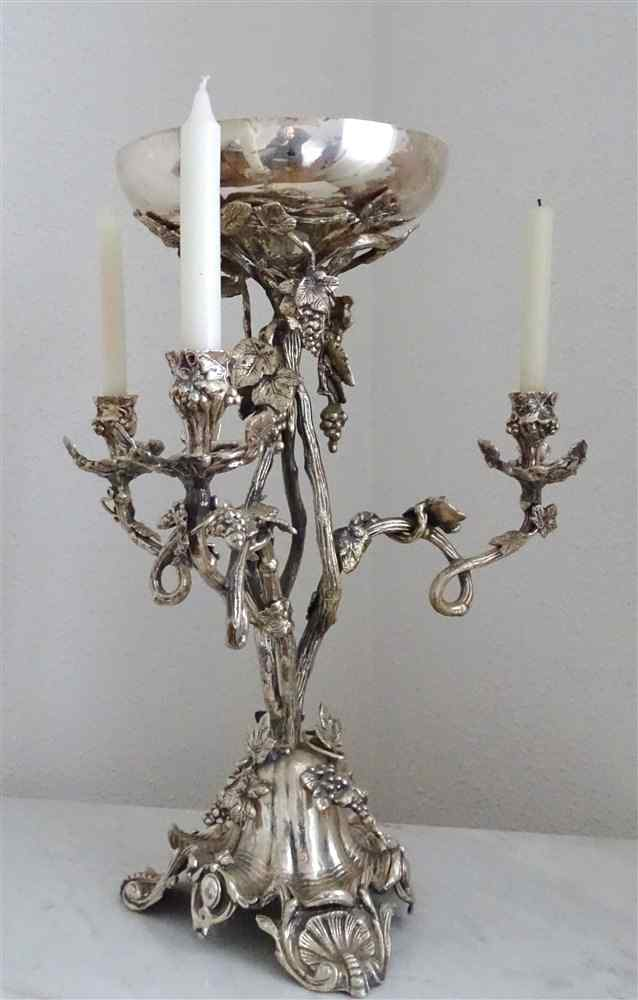 EXCEPTIONAL Silver Bronze Centerpiece with Pampres