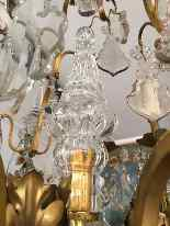 19th century bronze basket and crystal chandelier-3
