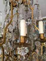 19th century bronze basket and crystal chandelier-2