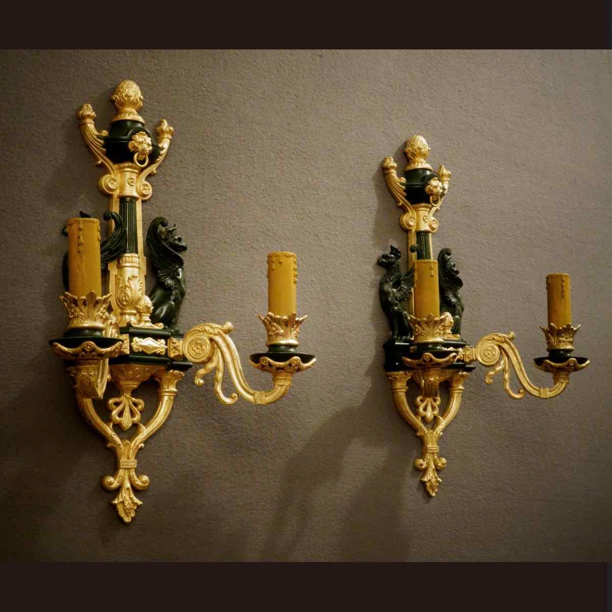 Impressionante coppia di applique del XIX secolo