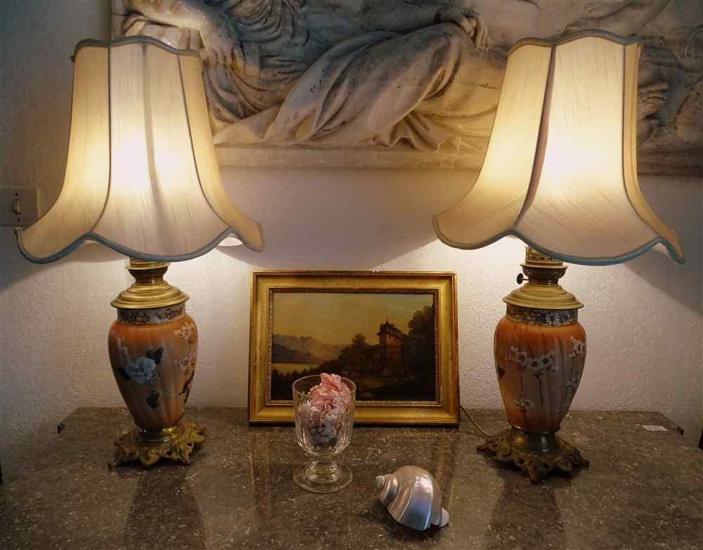 Важная пара Лампы глиняная Японский XIXth И Bronze