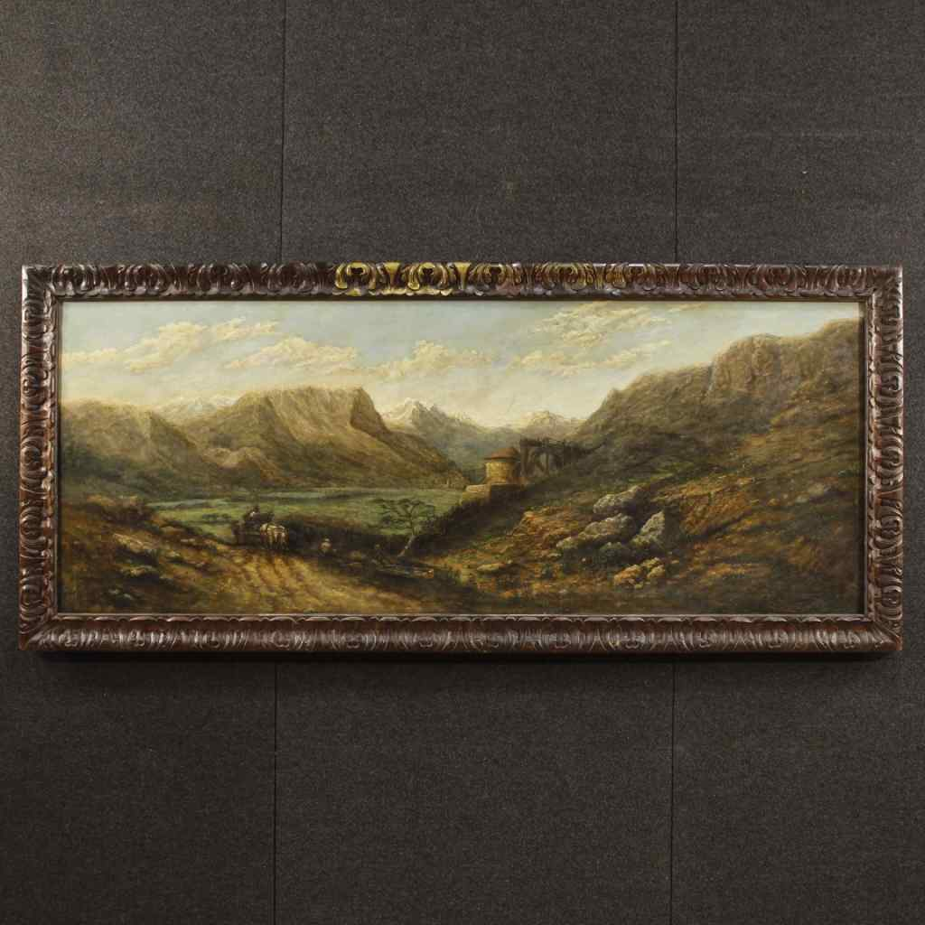 Французский холст, масло картины буколического пейзажа