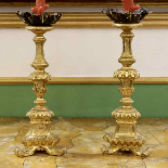 PAIR OF GILT-WOOD FLORENTINE CANDLESTICKS-0