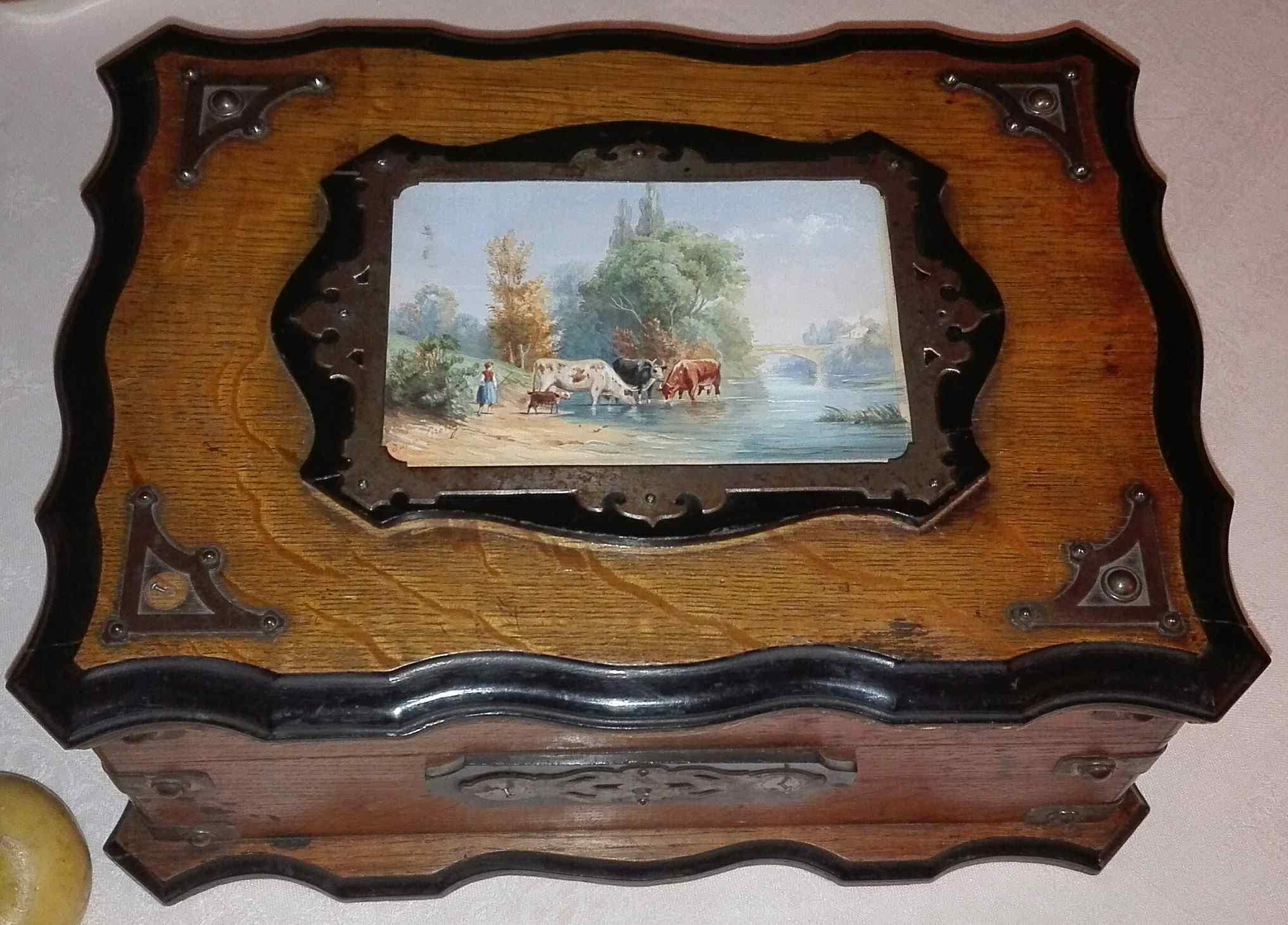 Large Napoleon III oak and ebanized wood cabinet