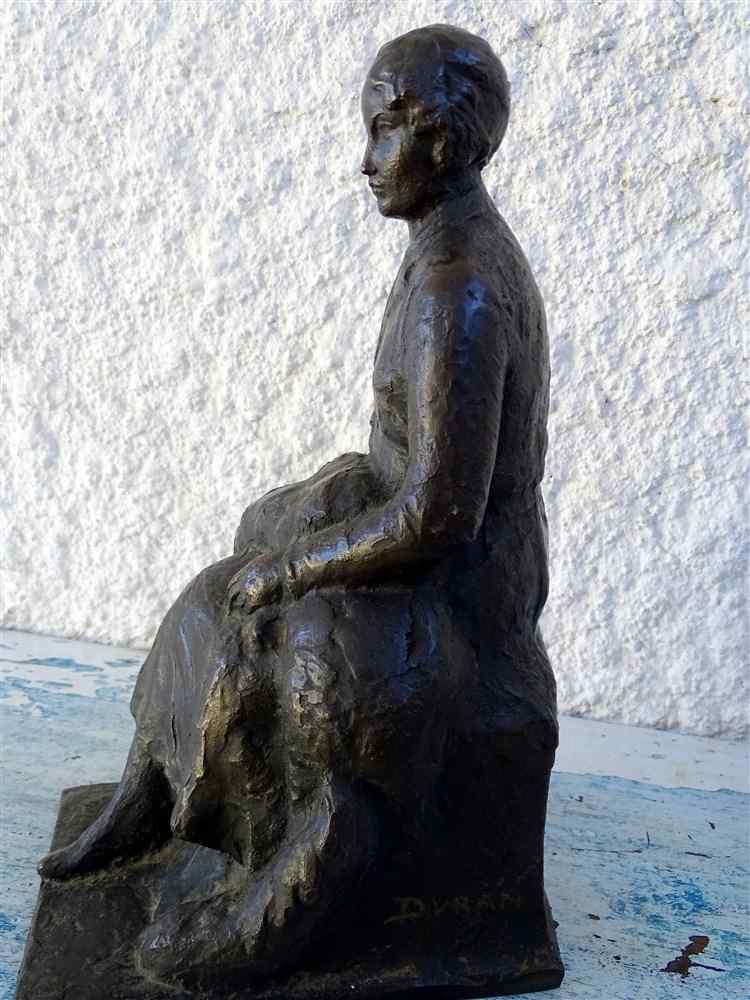 JAUME DURAN The young woman with the dog Bronze Art Deco c19