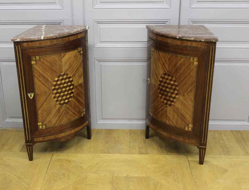 Pair Of Encoignures Marquetry Louis XVI Style