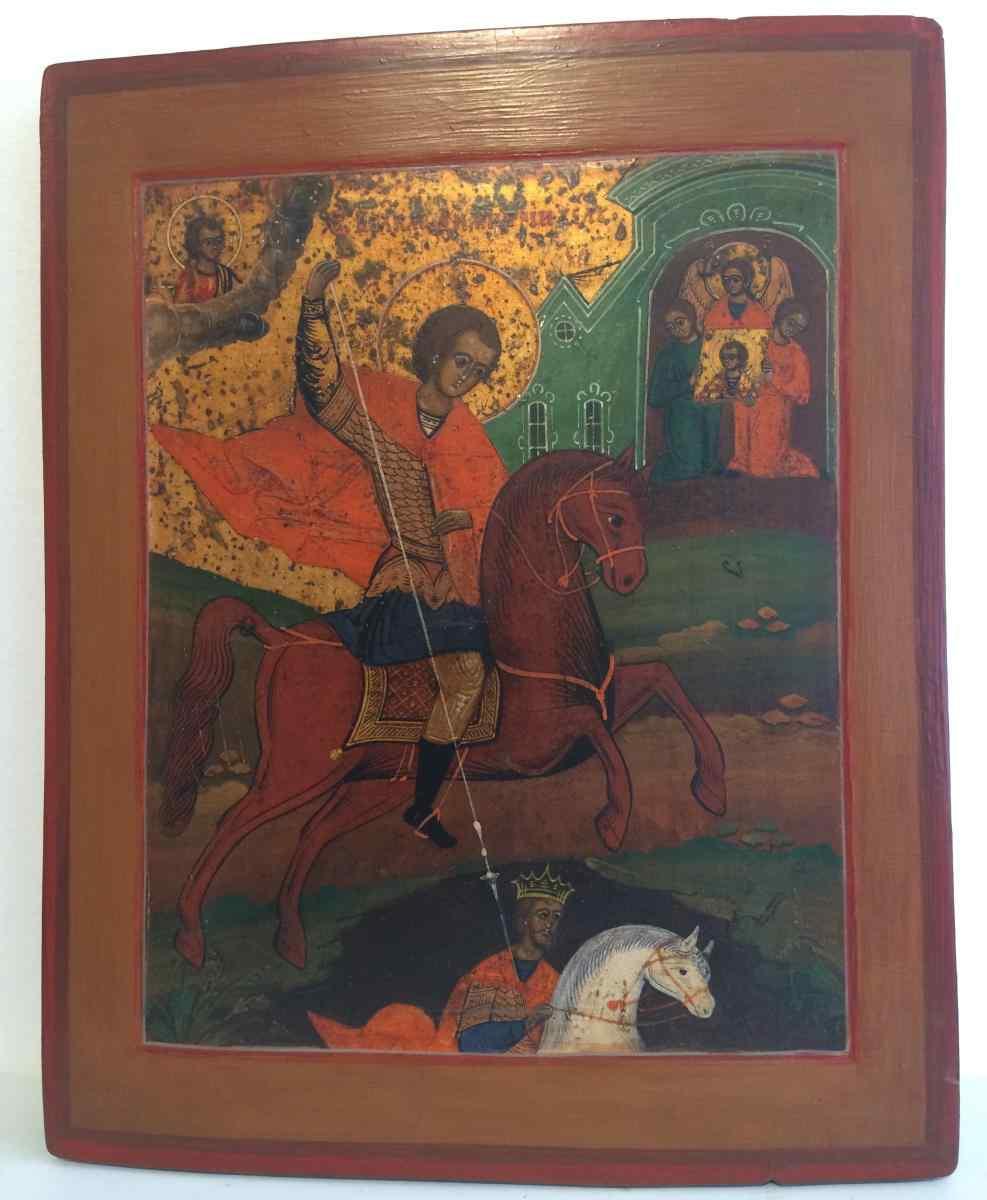 Русская икона, Юрьева и Дракон, ок. 1850