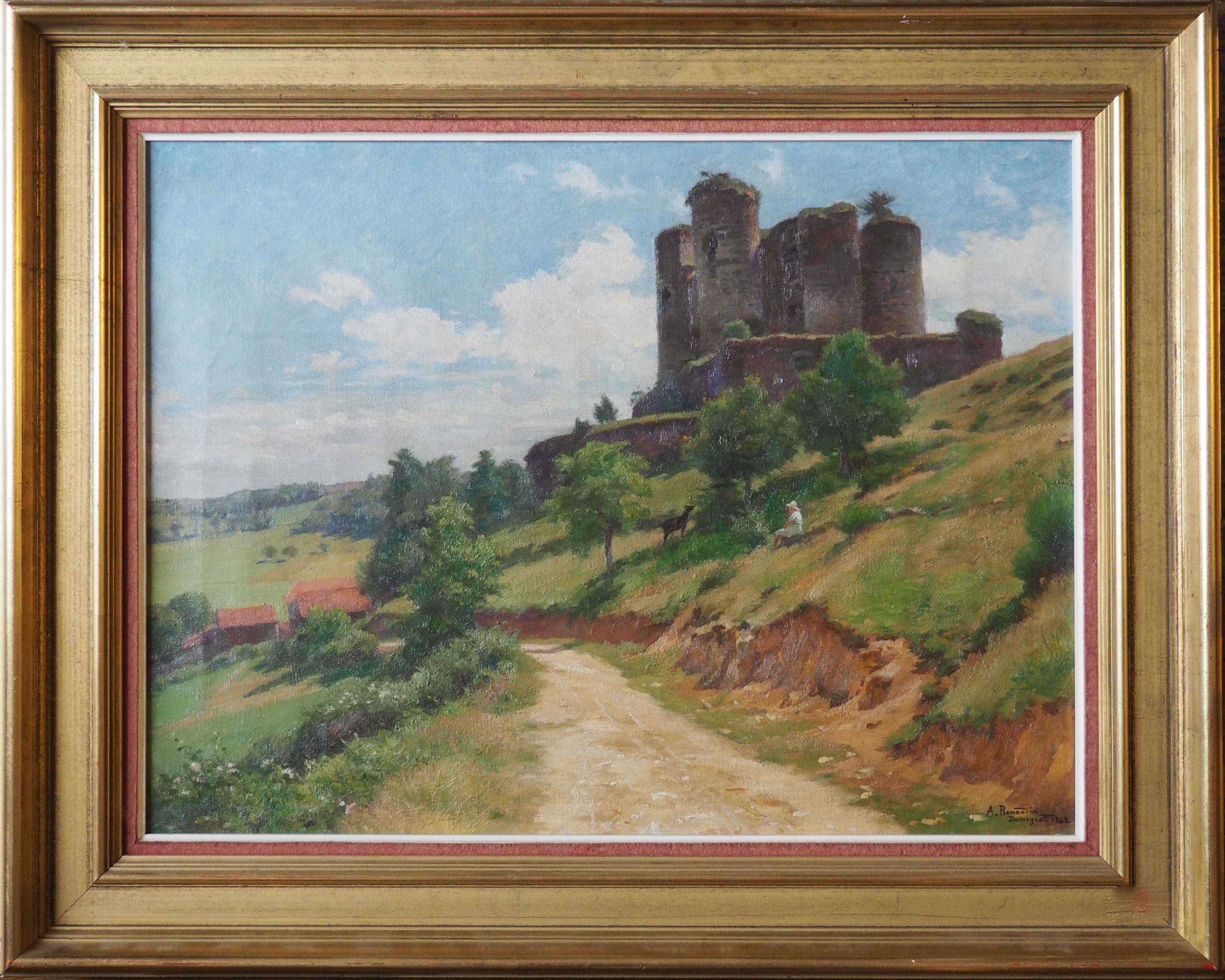 Alfred RENAUDIN, Castello di Domeyrat con pastorella, 194
