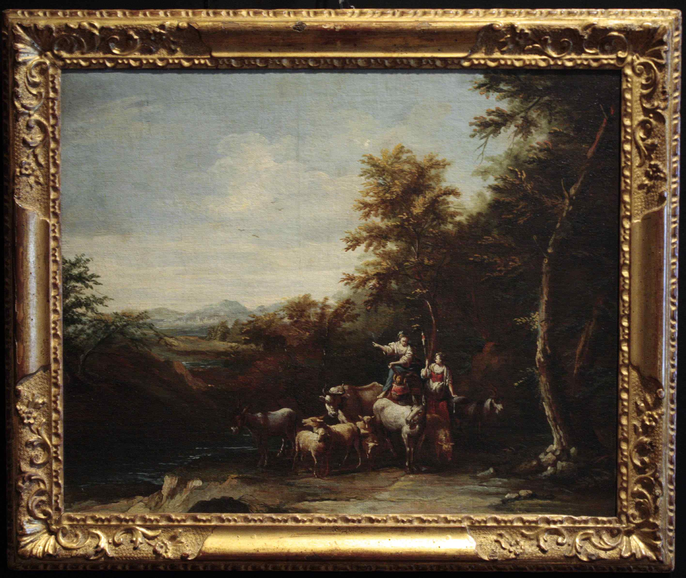 Zais Giuseppe (1709-1774) - Landscape with peasants and arme