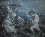 Cerchia di F. Boucher 1703 , 1770 Putti Grisaille-2