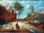 Jan Pieter van Bredael the Young Village Scene Oil / cloth-6