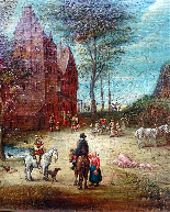 Jan Pieter van Bredael the Young Village Scene Oil / cloth-3