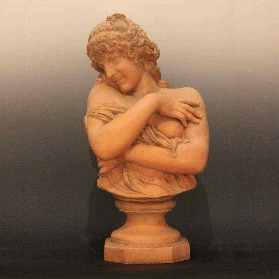 Busto di donna in terracotta, Scuola Francese del XIX secolo