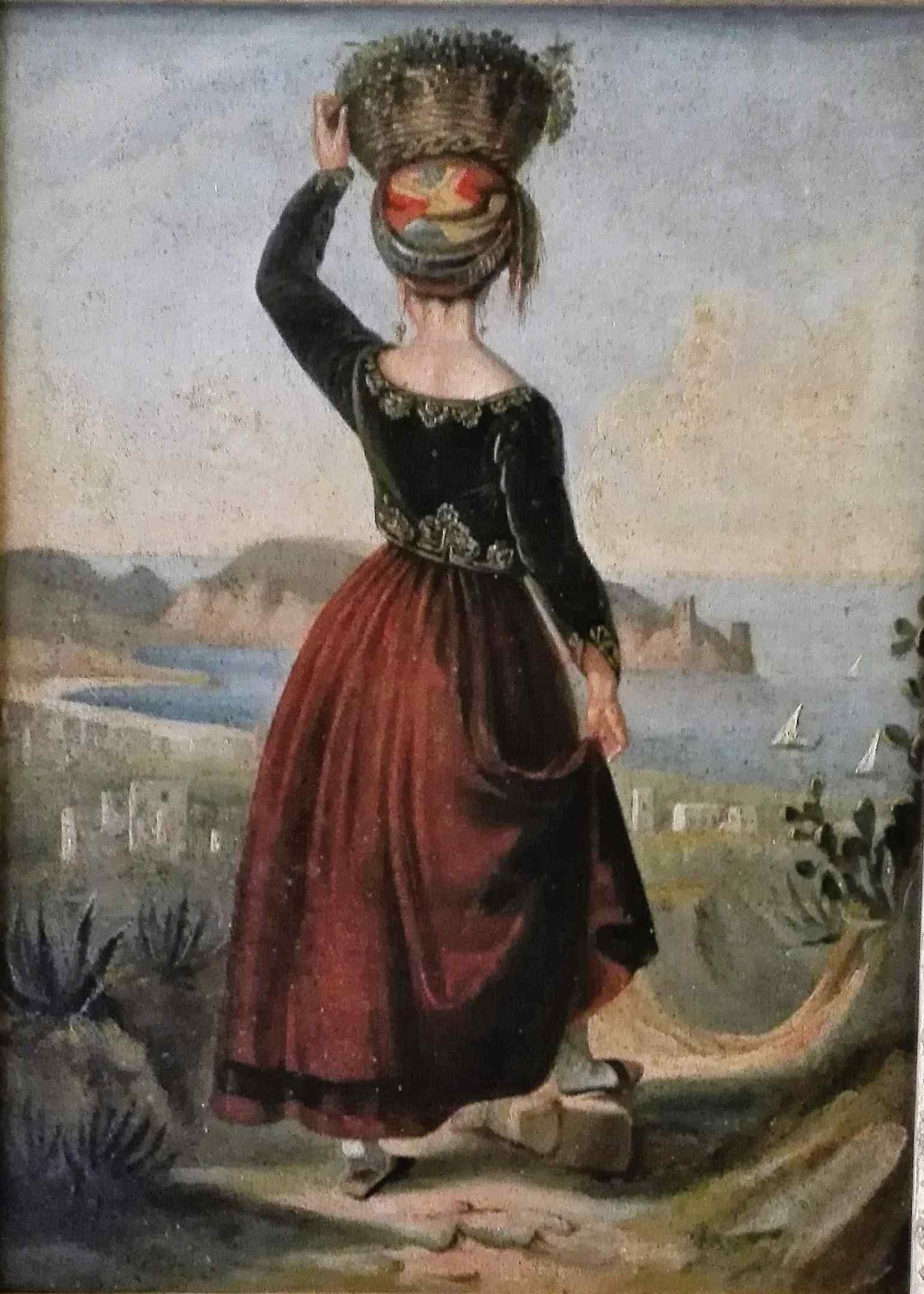 Женщина в традиционном кипрском платье девятнадцатого века