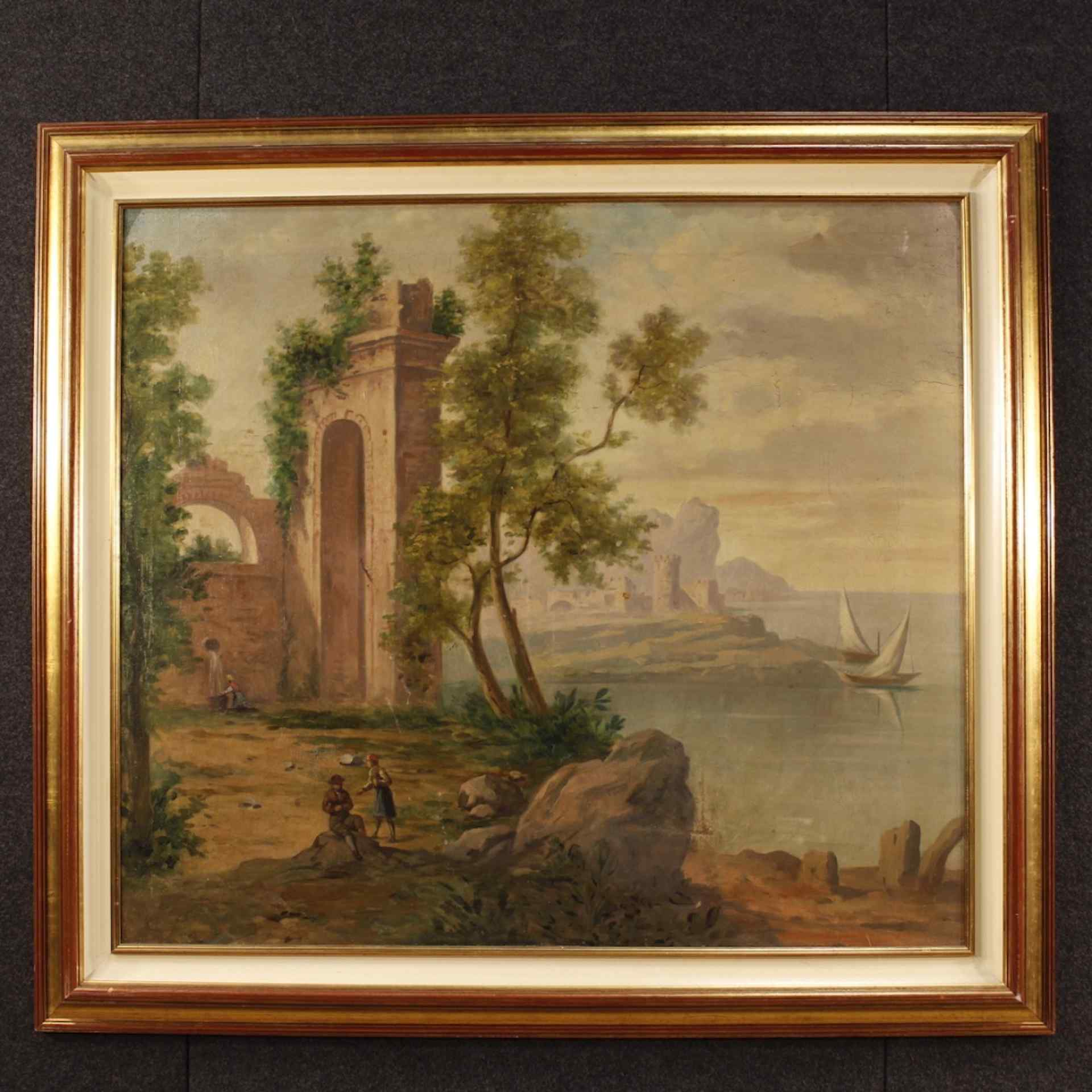 Dipinto italiano paesaggio marino con rovine e personaggi