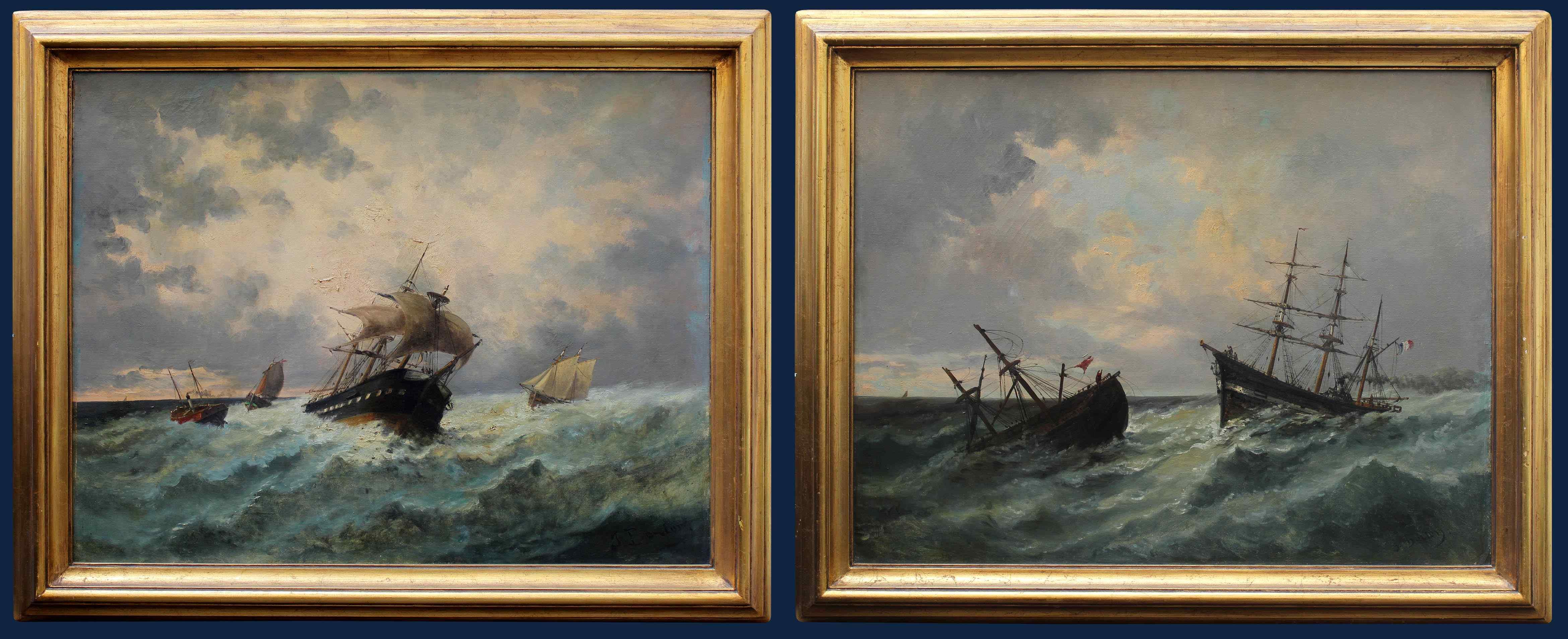 Jan Georges Berton, 19th century, Pair of marinas with saili