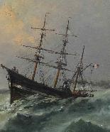 Jan Georges Berton, 19th century, Pair of marinas with saili-3