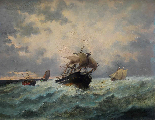 Jan Georges Berton, 19th century, Pair of marinas with saili-1