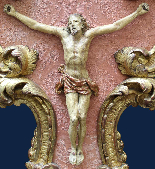 XVIIth Century, Crucifix with frame, Polychrome wood-1