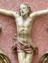 XVIIth Century, Crucifix with frame, Polychrome wood-2
