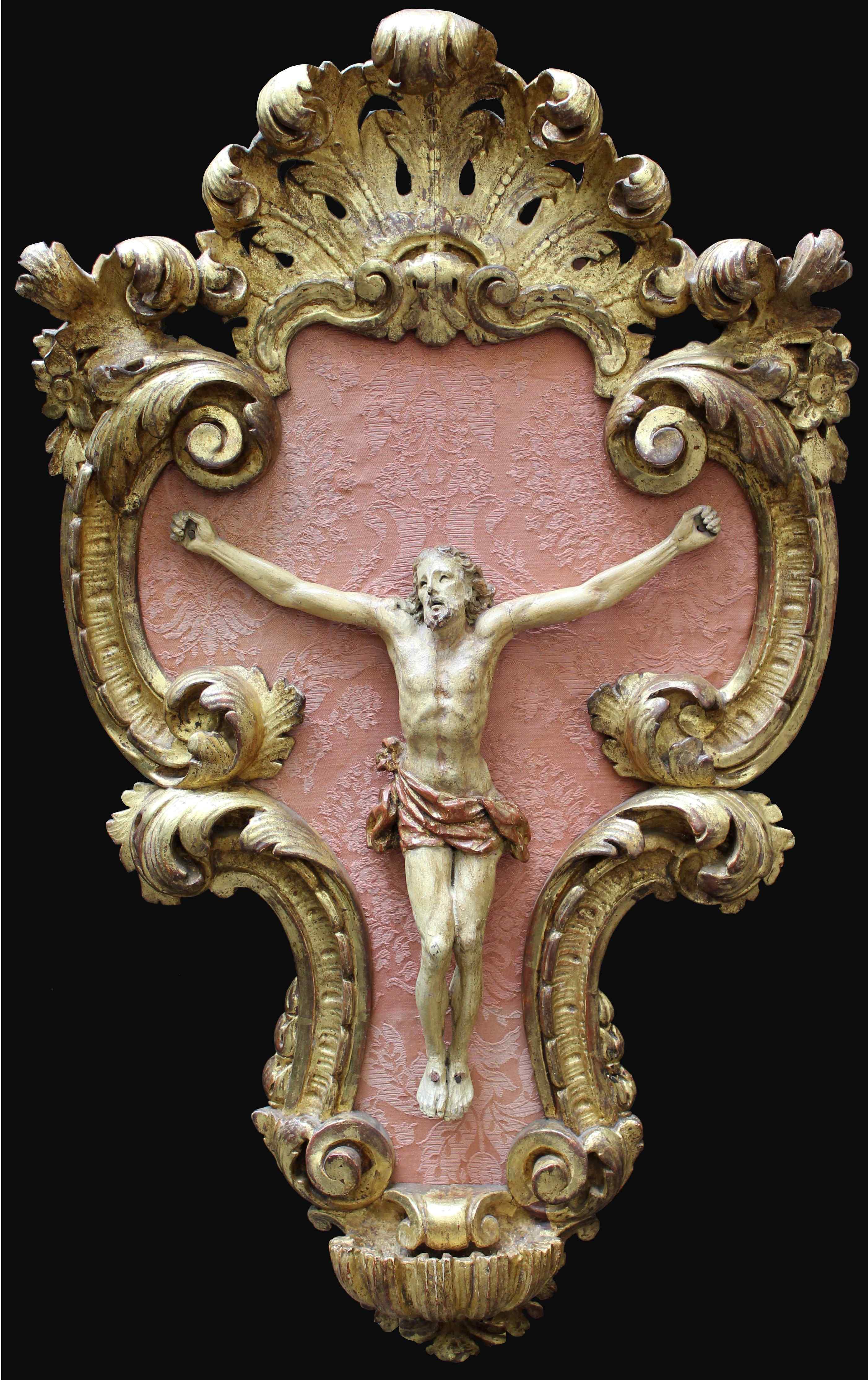 XVIIth Century, Crucifix with frame, Polychrome wood