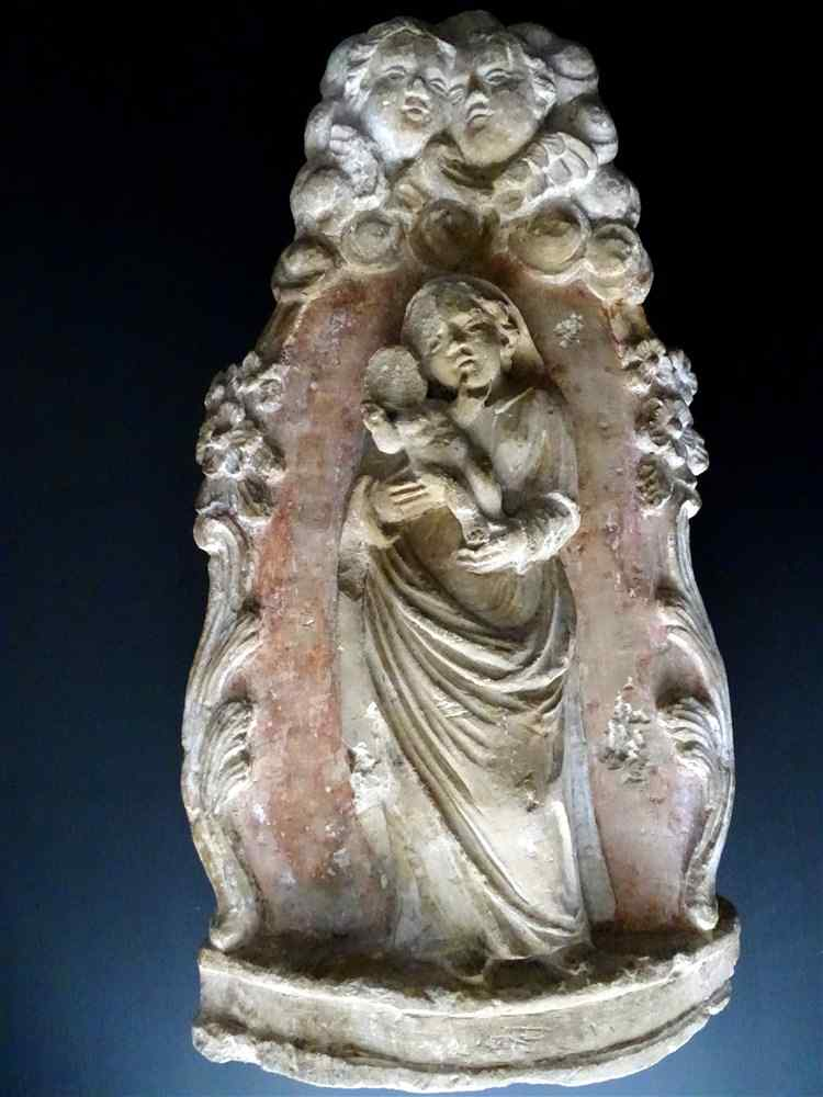 Rare Virgin of Niche in Burgundy Stone Regency Period