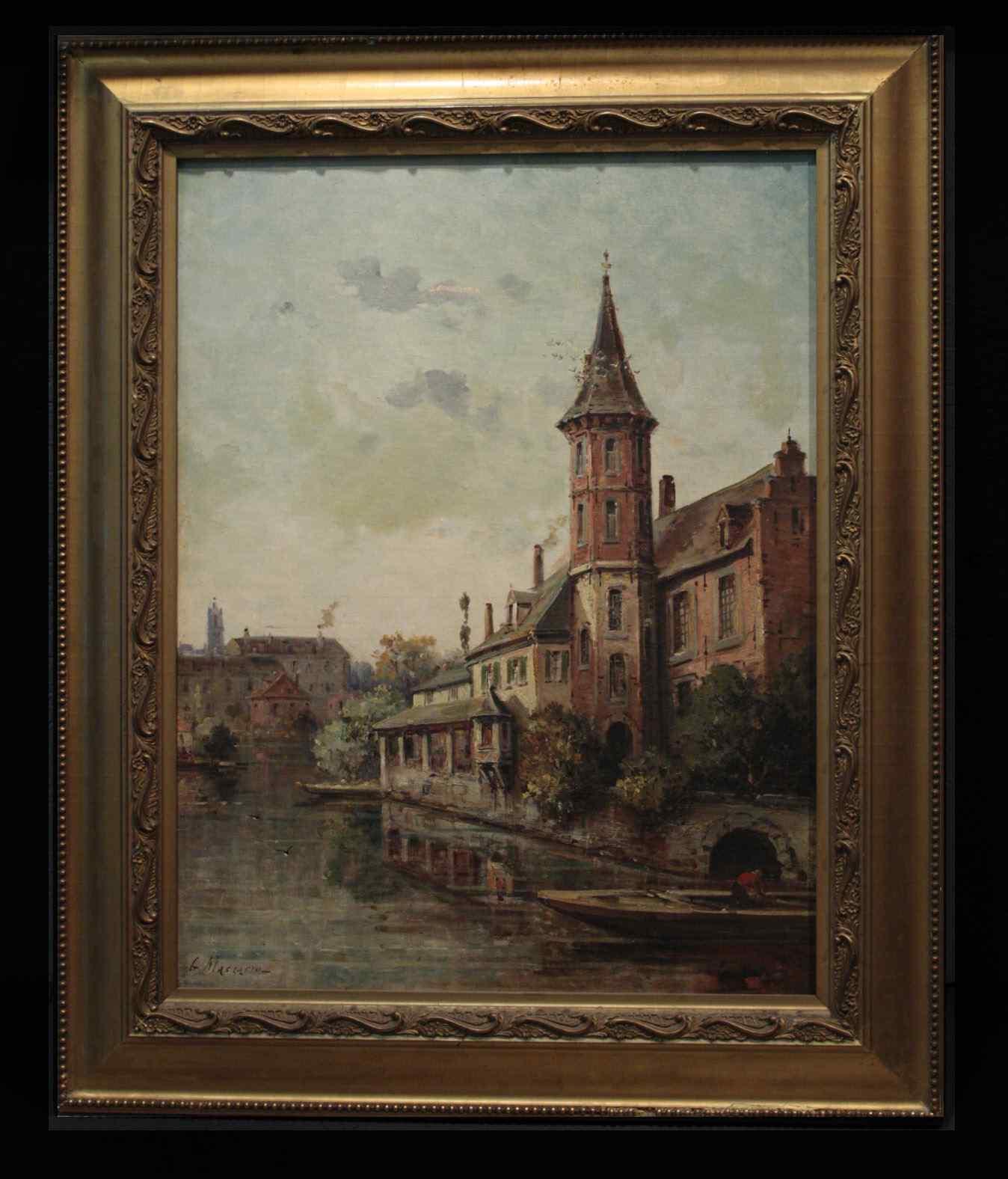 Giuseppe Mascarini (1877-1954) -Veduta di Pouilly-sur Loire
