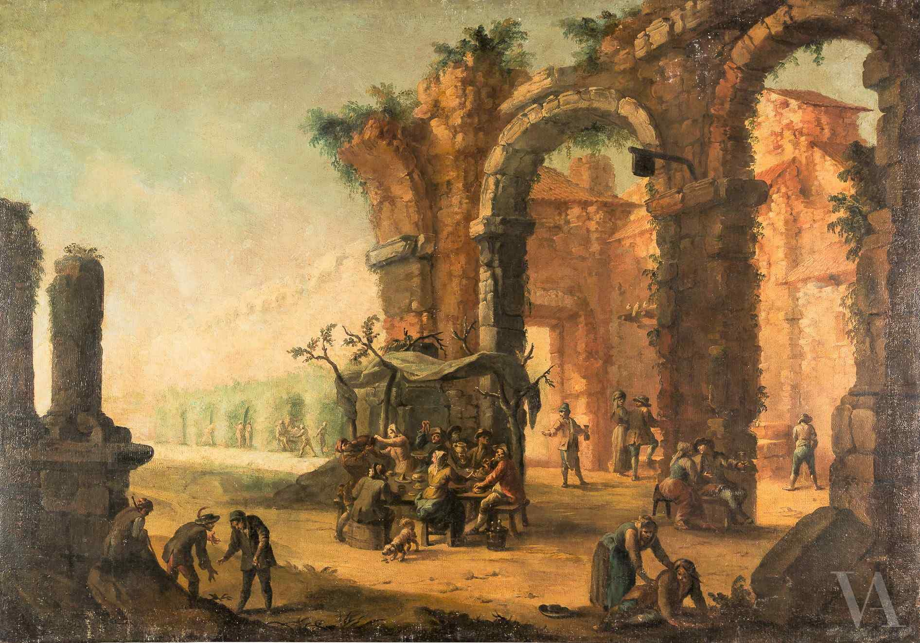 Venetian master of the century XVIII, Landscape with archite