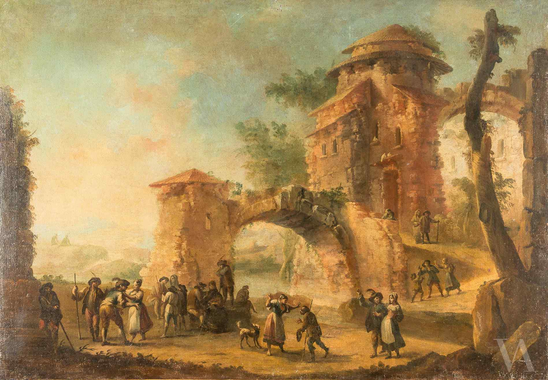 Venetian master of the century XVIII, Landscape with archite
