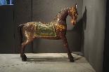 sculpture cheval en bois peint-2