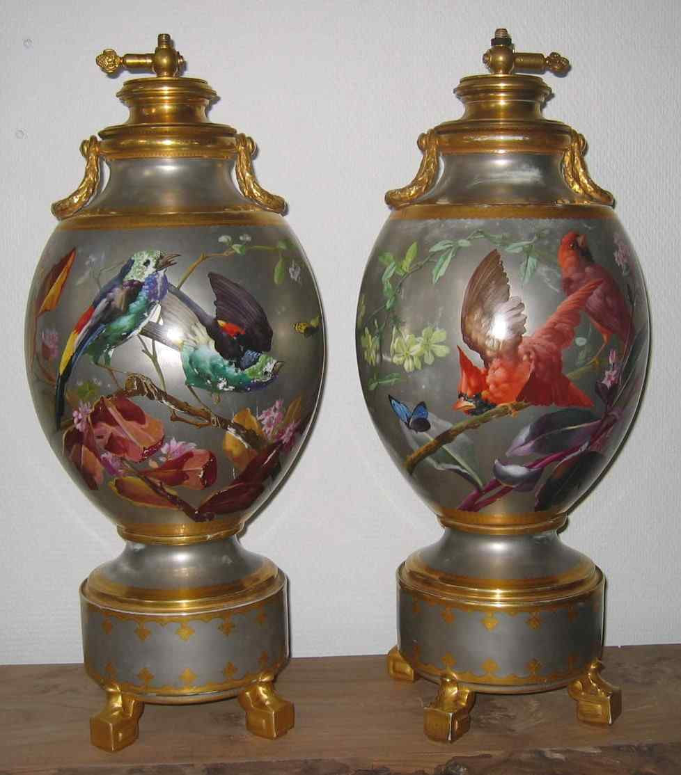EXCEPTIONAL PAIR OF VASES Narcissus VIVIEN 19th century