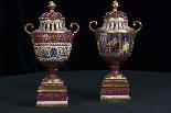 Пара изготовления девятнадцатого века вазы Вены рано-1