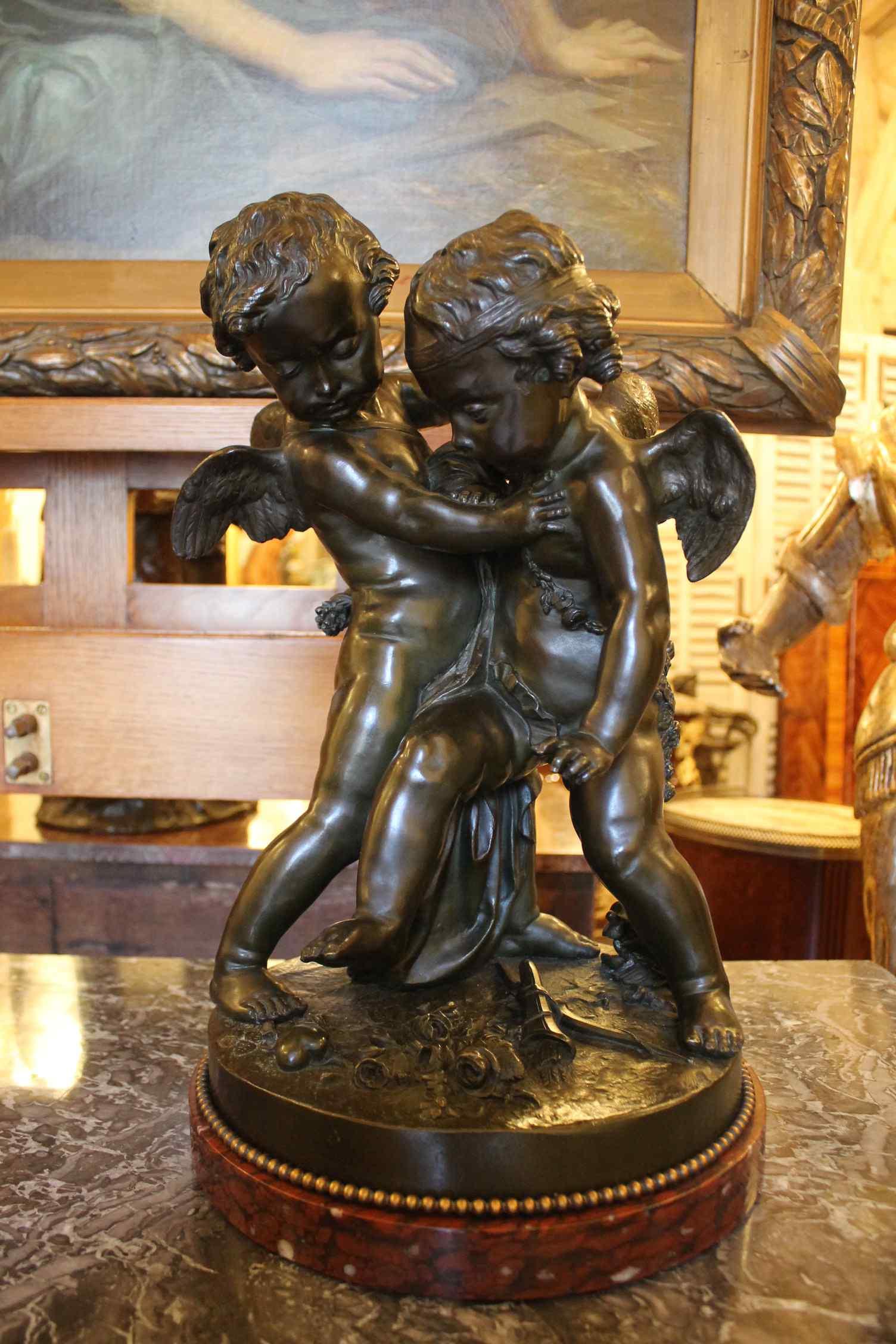 Deux amours se disputant un coeur, bronze d'Après Falconet